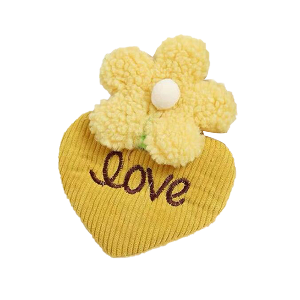 1 Pc Hair Beauty clips With Strawberry Flower Bangs Corduroy Face Wash Makeup Plush Hair Accessories 1 # yellow love