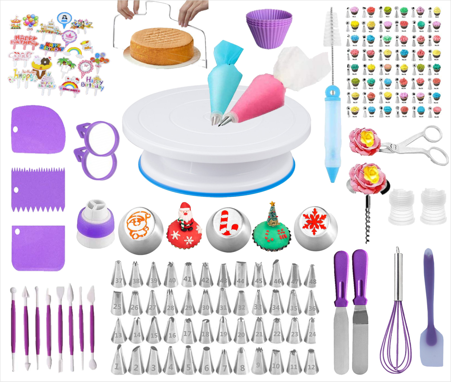 158Pcs/Set Cake Decorating Turntable Stand Icing Tips Piping Nozzles Baking Tools for Beginners Photo Color