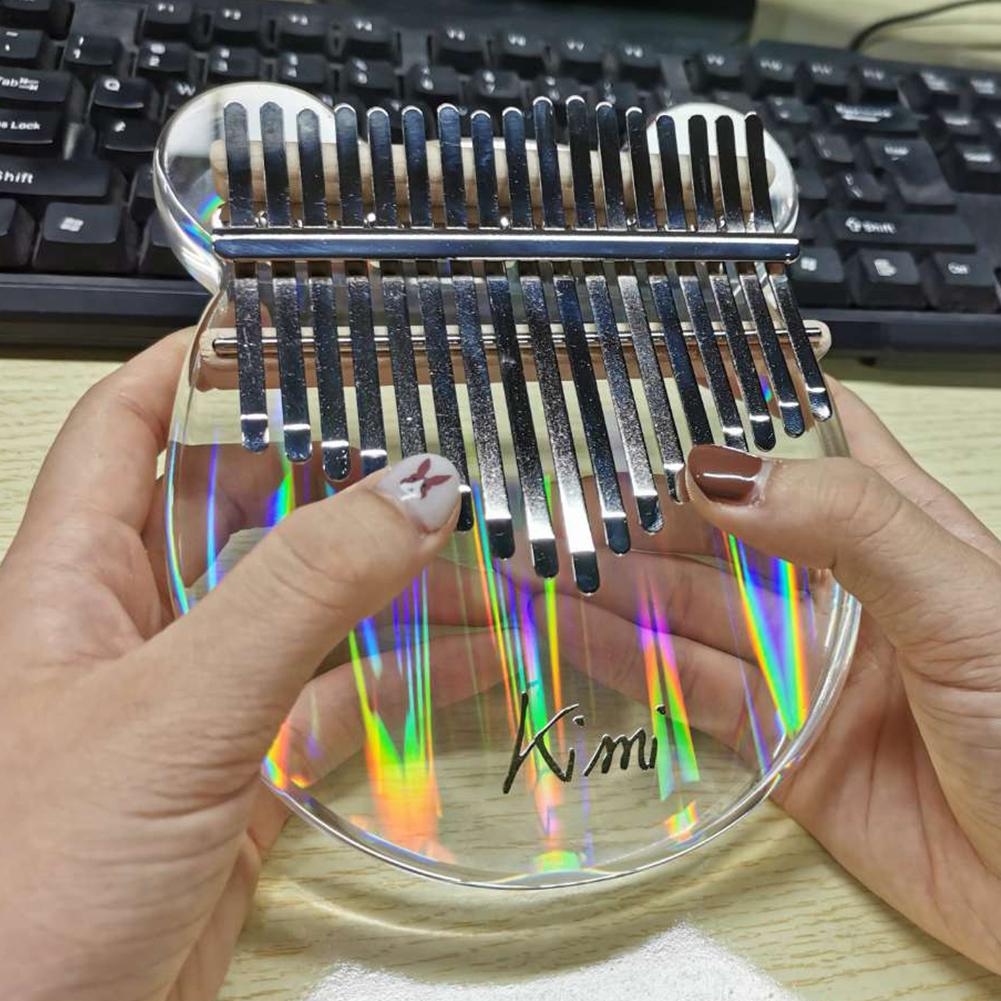 17 key Kalimba Acrylic Thumb Piano 17 Keys Mbira Transparent Keyboard Instrument Transparent_Color light bear