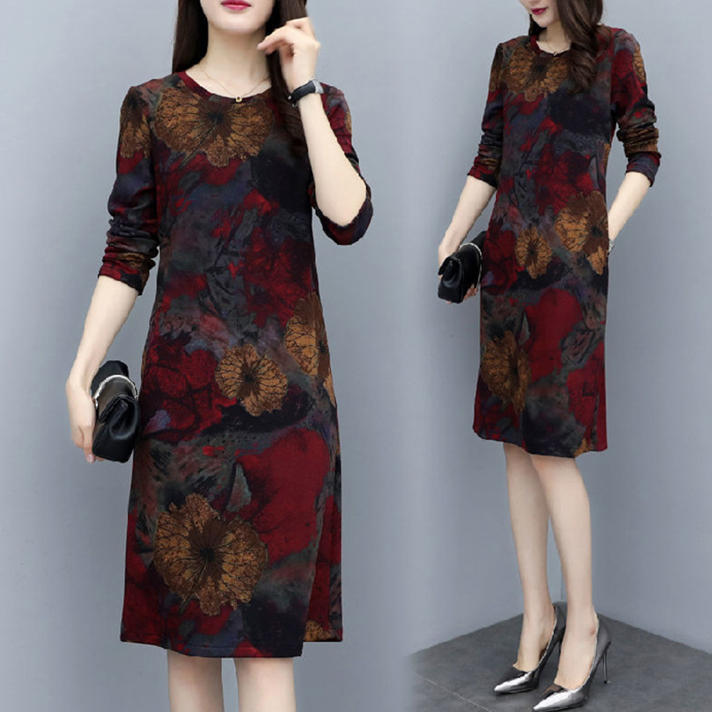 Long Sleeves and Round Neck Dress with Floral Printed Casual Loose Dress for Woman Wine red lotus_XL