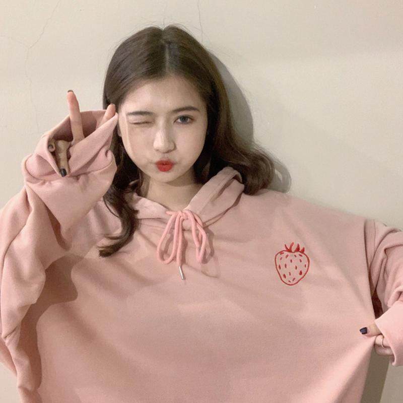 Woman Fashion Hoodie Strawberry Pringting Pattern School Style Oversize Sweatshirt Loose Tops Pink_XXL