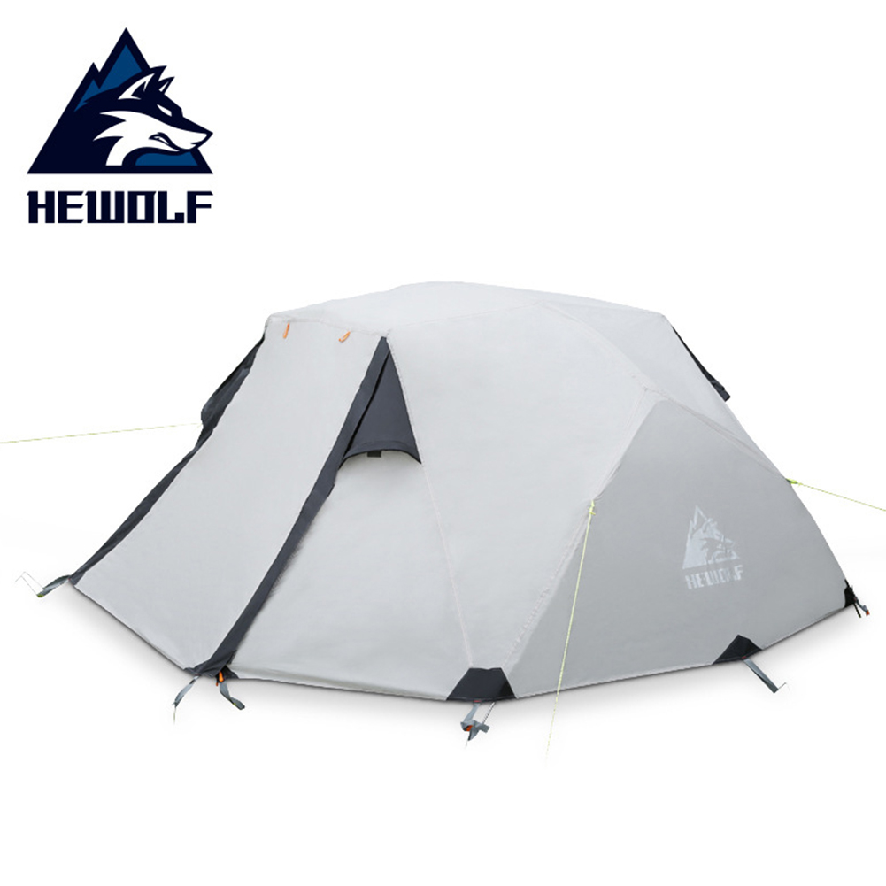 Outdoor Camping Equipment Rainproof Tent Double Layer Aluminum Rod Multi-person Outdoor Winter Camping Tent Khaki_Double