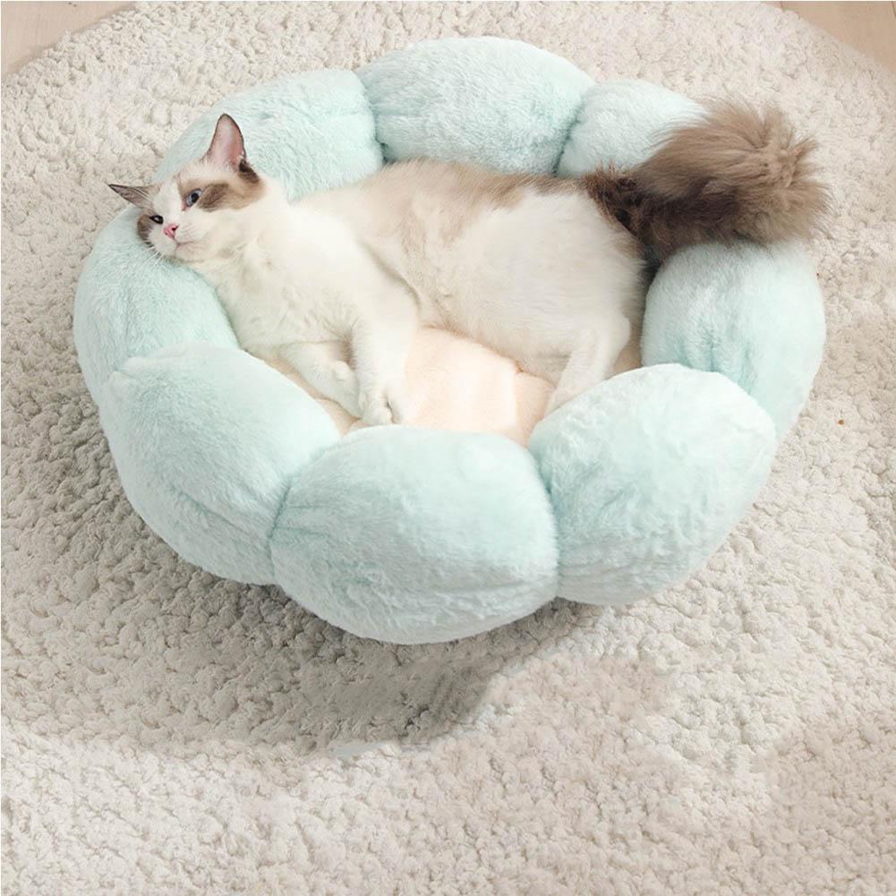 Flower Shape Cat Bed Short Plush Soft Cat House Winter Pet Dog Cushion Mats Nest Light green + light pink_ 40cm