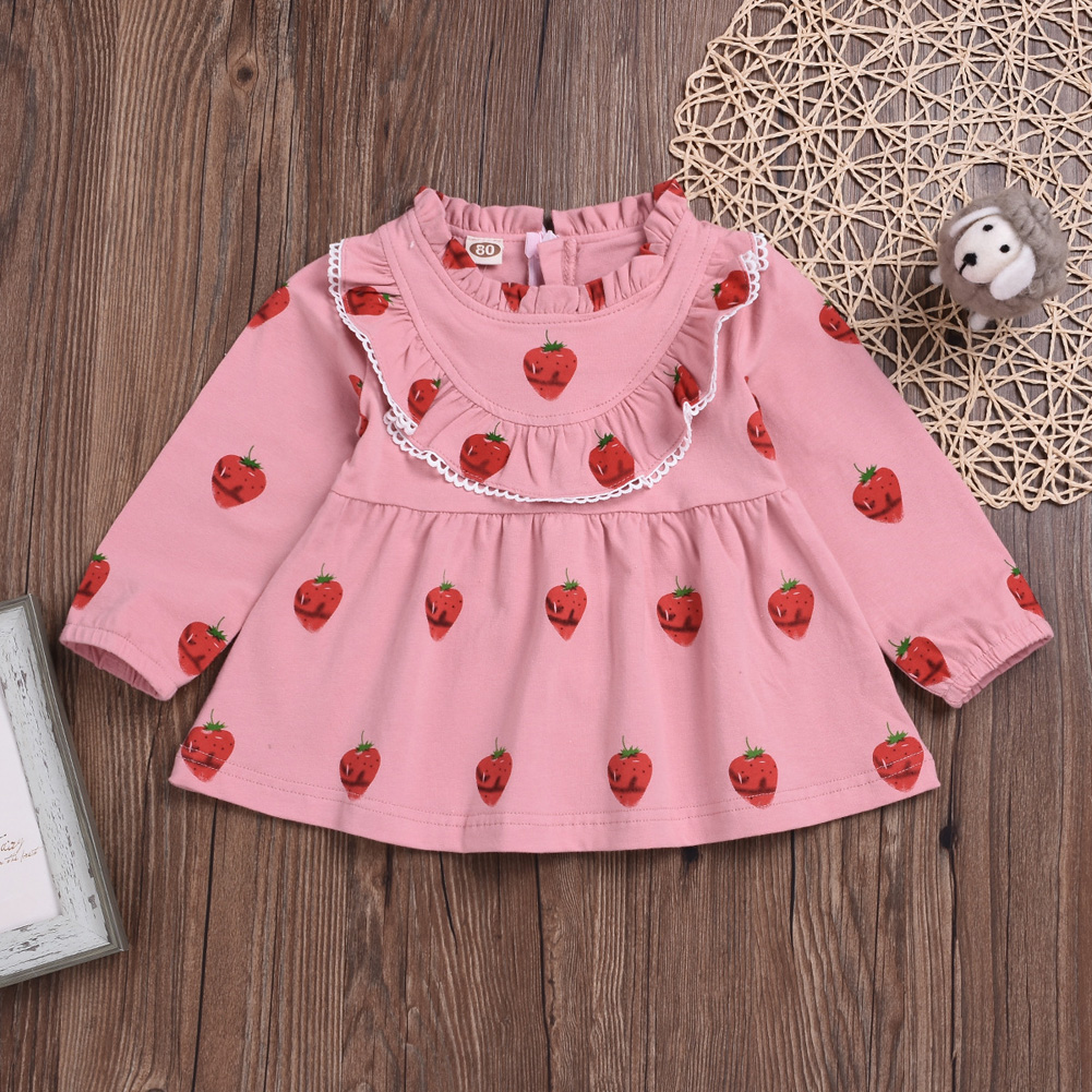 Cute Zippered Girls Dress Long Sleeves and Flouncing Collar Skirt with Strawberry Decorated Pink_90cm