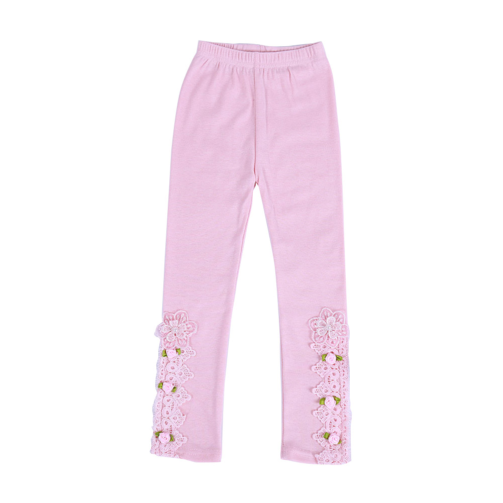 Baby Leggings For 3-9 Years Old Soft Girl Pants Cotton Lace Embroidery Cotton Leggings Pink_130cm