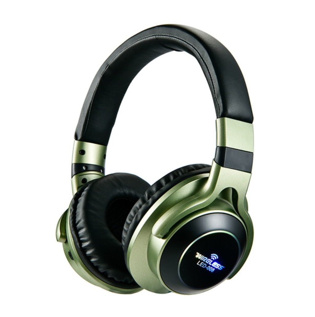 LED Light Wireless Bluetooth Headphones 3D Stereo Earphone With Mic Headset Support TF Card FM Mode Audio Jack green