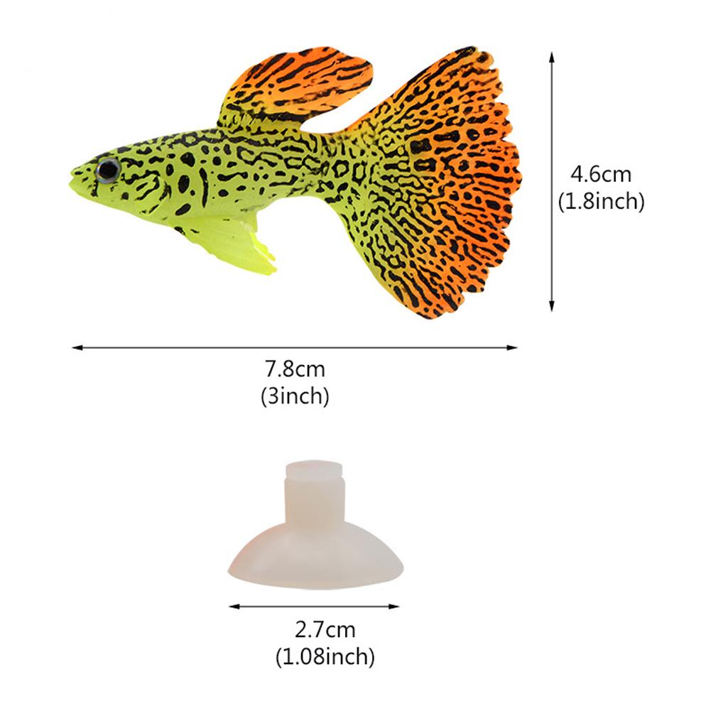 Noctilucent Simulate Silicone Fish Shape Aquarium Decoration Accessories F03 Guppy