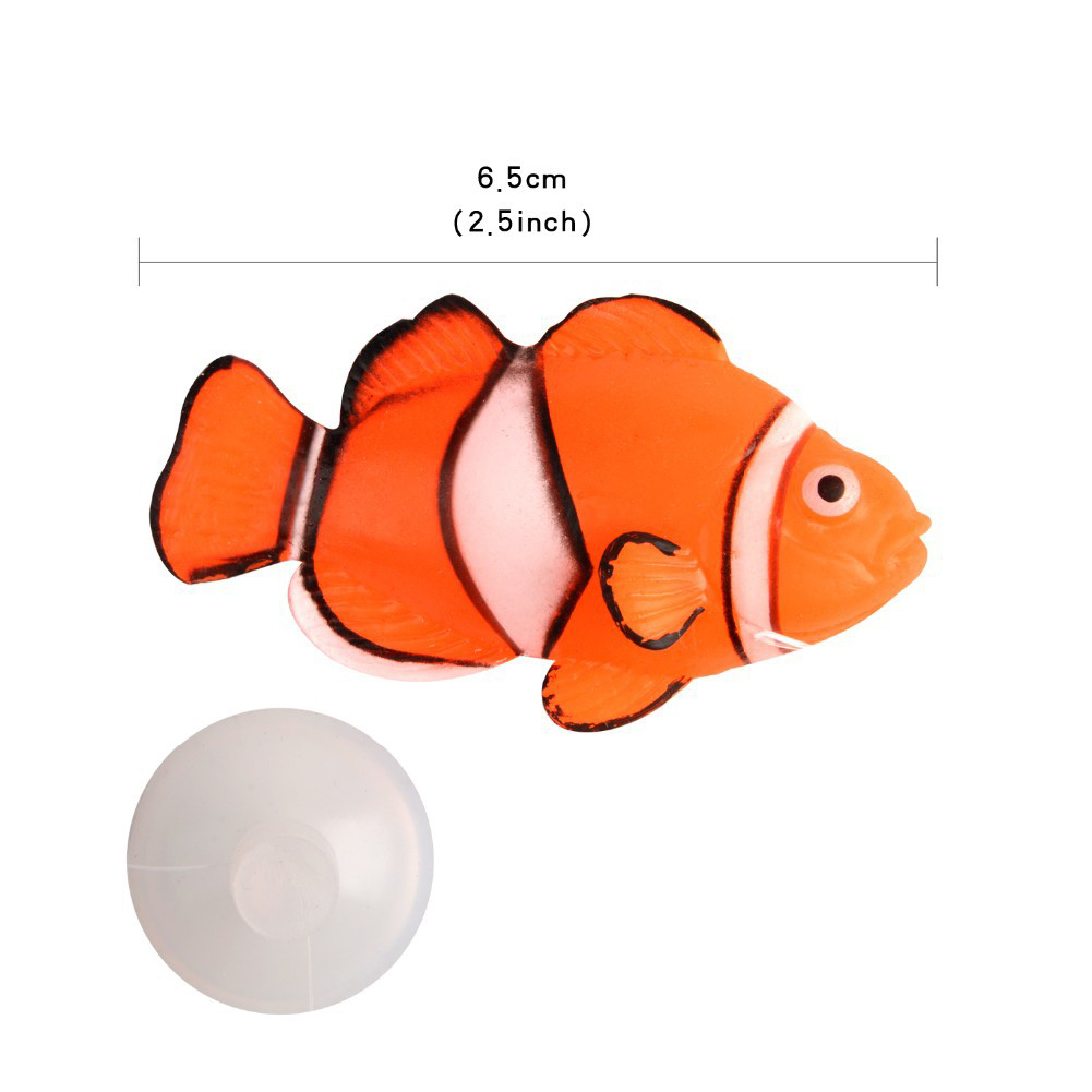 Noctilucent Simulate Silicone Fish Shape Aquarium Decoration Accessories Ugly Fish in F02