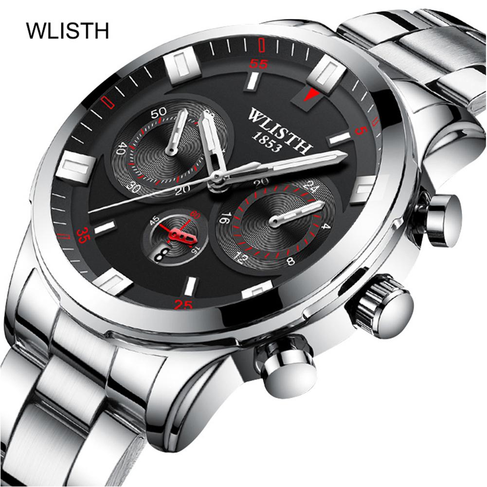 Men Casual Quartz Watch Stainless Steel Wrist Waterproof Luminous Dial Sports WristWatch silver shell black surface steel belt 2#