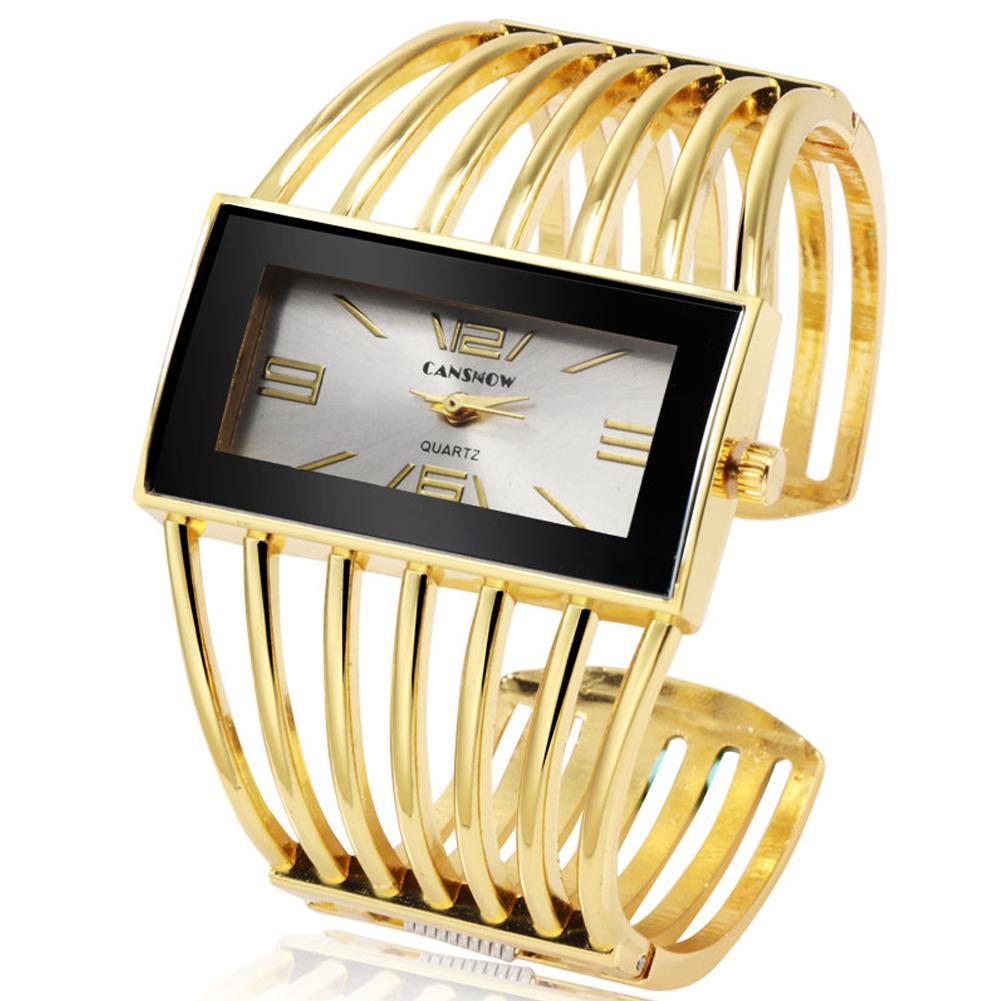Women Creative Waterproof Alloy Quartz Rectangular Dial Fashion Bracelet Watch Wristwatch 4#