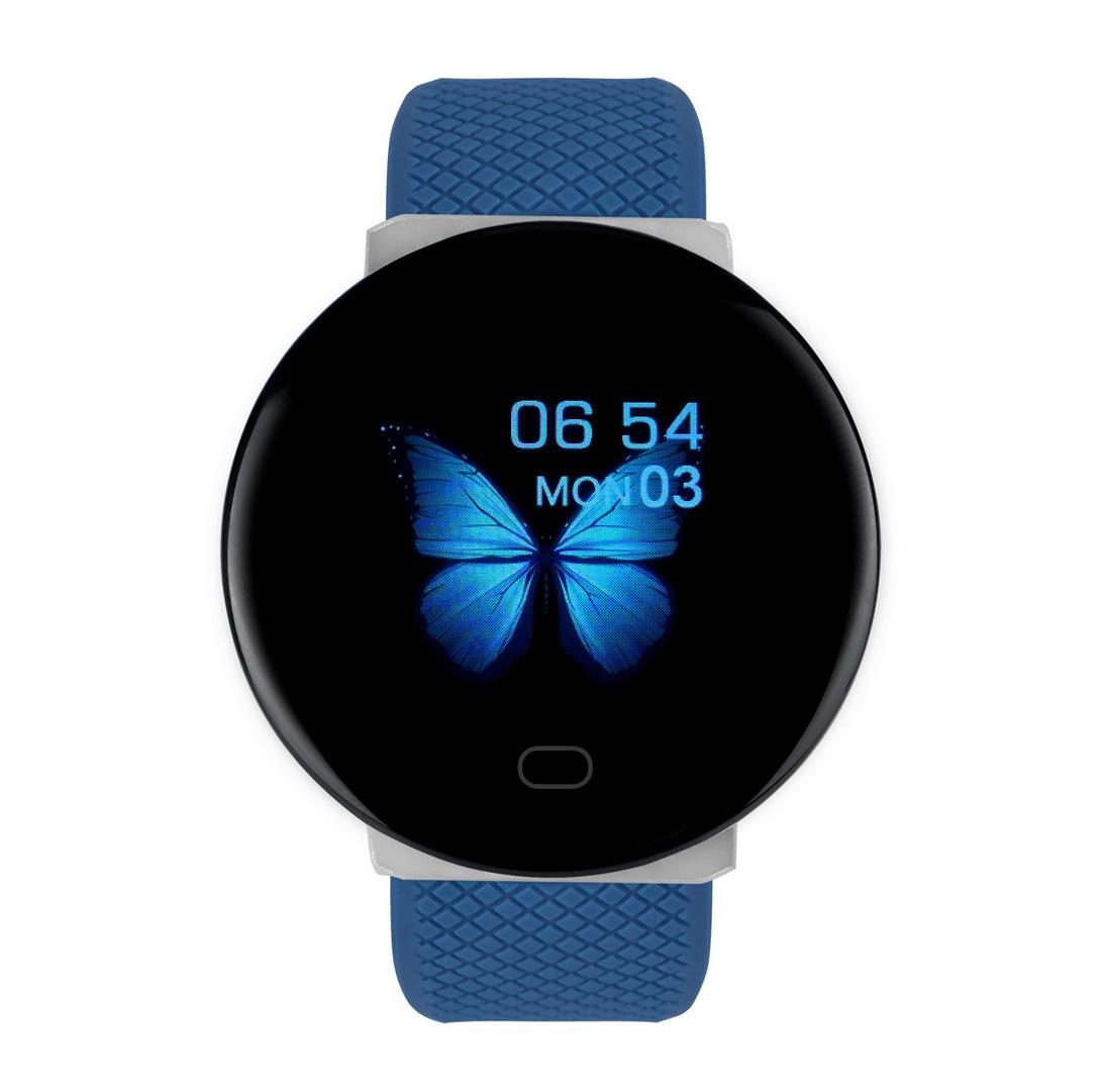 Round Dial D19 Color Screen Smart Bracelet Heart Rate Blood Pressure Caller Information Waterproof Step Counter Watch blue