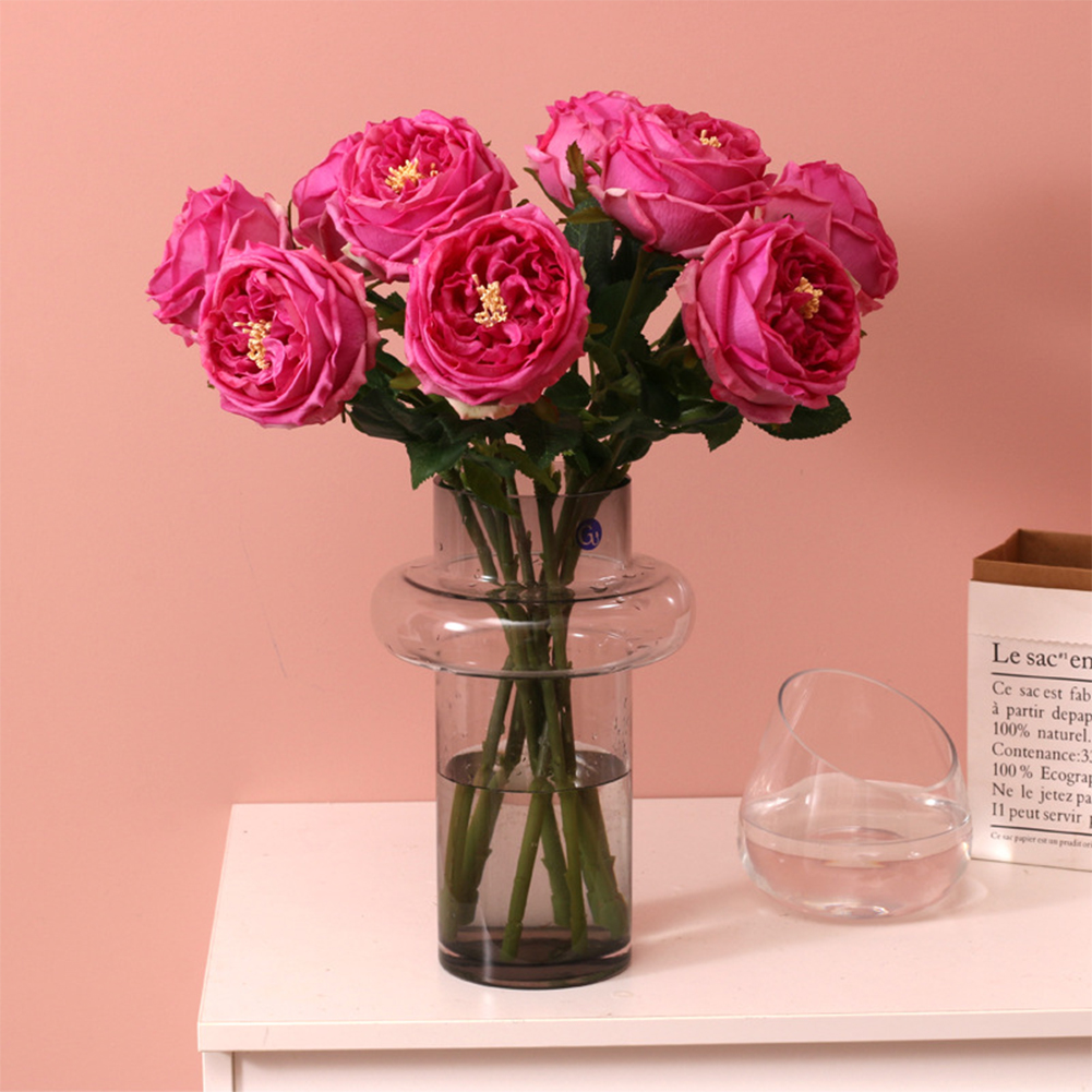 Artifical Silk  Flower Realistic Rose For Hpsehold Decoration Wedding Ornaments Deep purple