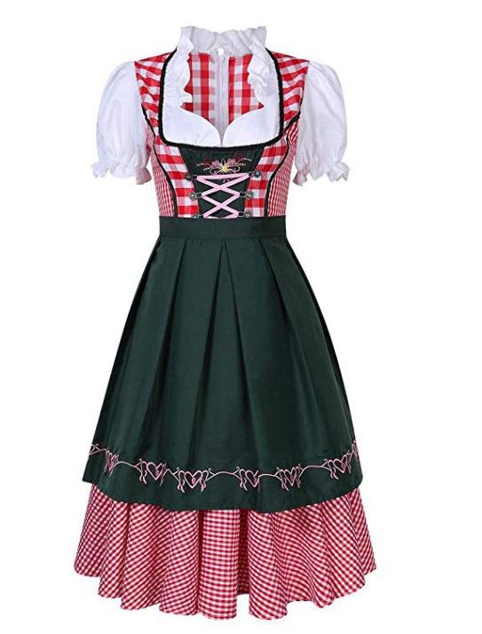 Oktoberfest Costume Bavarian Plaid Dress Halloween Party Maid Costume Dark green_XXL=42