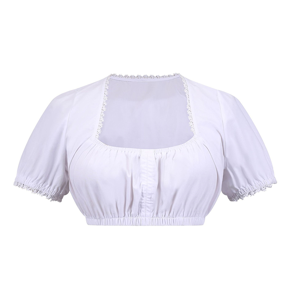 Women Oktoberfest Ethnic Style Solid Color All-match Lace Short Tops white_L
