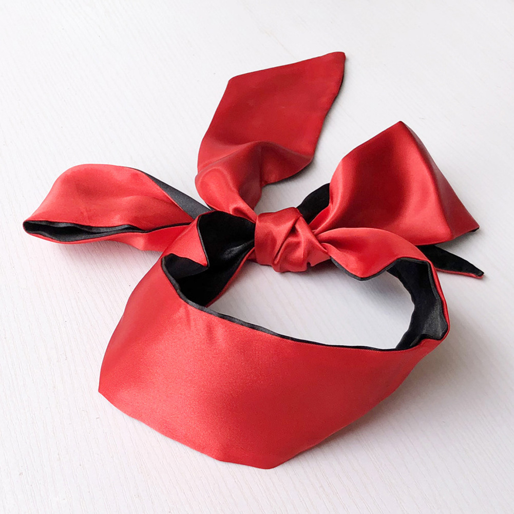 Sex Products Double Layer Blind Mask For Sleep Rest Soft Silk Satin Eye Patch Mask Ribbon Bondage Flirting Blindfold Black red