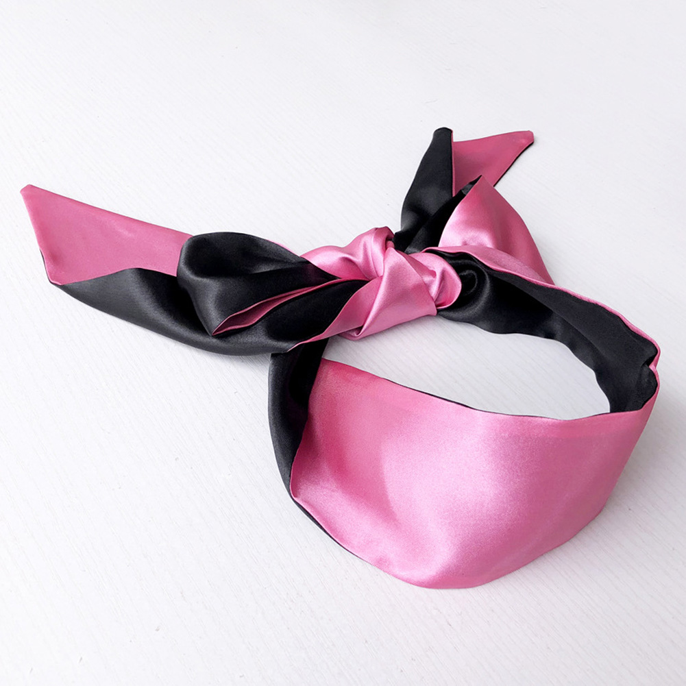 Sex Products Double Layer Blind Mask For Sleep Rest Soft Silk Satin Eye Patch Mask Ribbon Bondage Flirting Blindfold Black pink