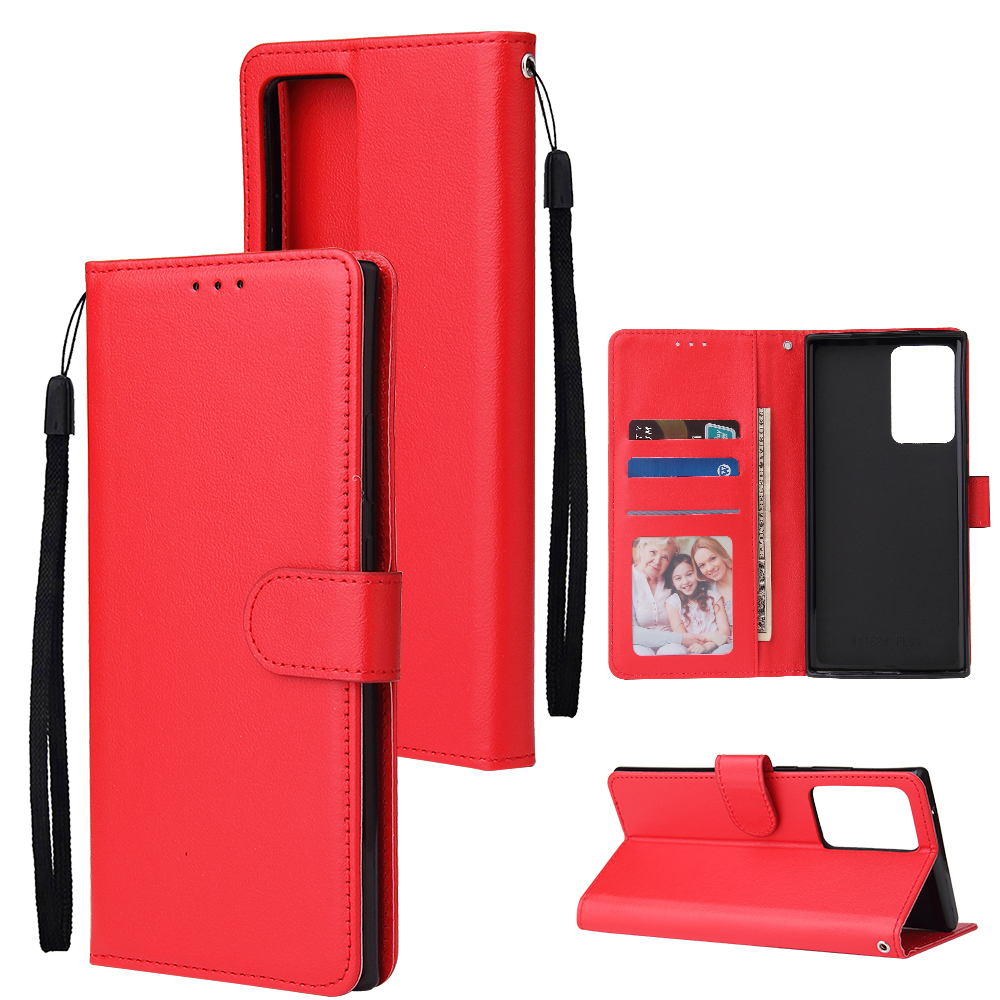 For HUAWEI PSmart 2020/Y5P/Y6P PU Leather Mobile Phone Cover with 3 Cards Slots Phone Frame red