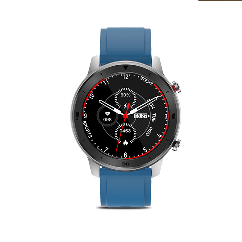 DT78 Smart Watch Fitness Tracker Men Women Wearable Devices Smart Band Heart Rate Monitor ECG Detection Smartwatch Sports Bracelet Silver dial blue strap