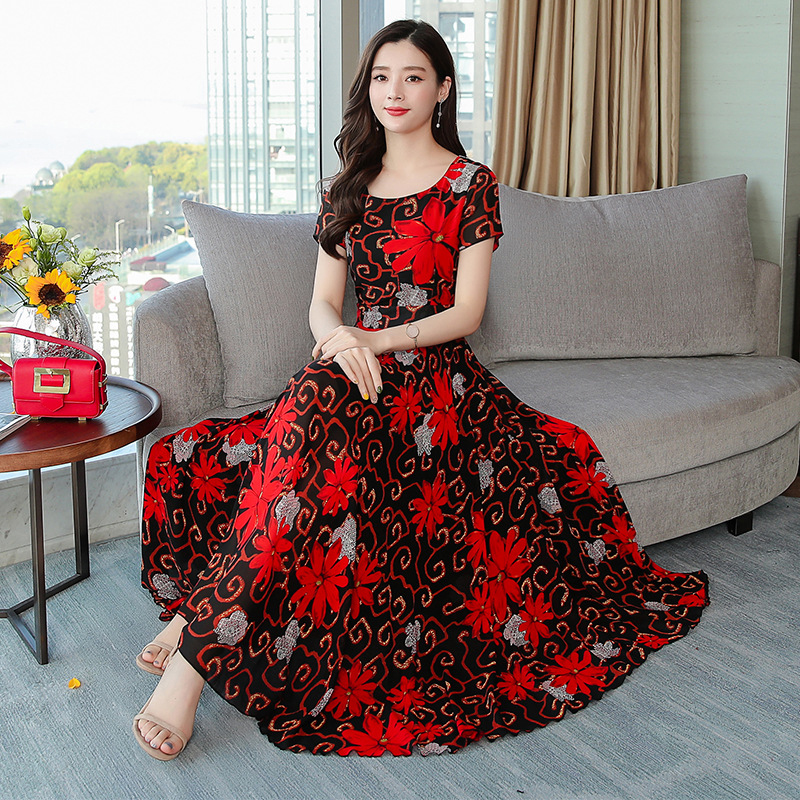 Women Casual Slim Floral Printing A Line Long Dress for Summer Wear red_L