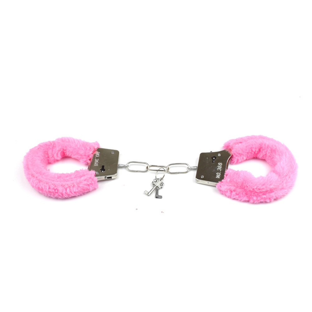 Furry Soft Metal Handcuffs Couple Chastity Sex Toys Role-playing Erotic Products Adult Games SM Bondage Handcuffs  Pink