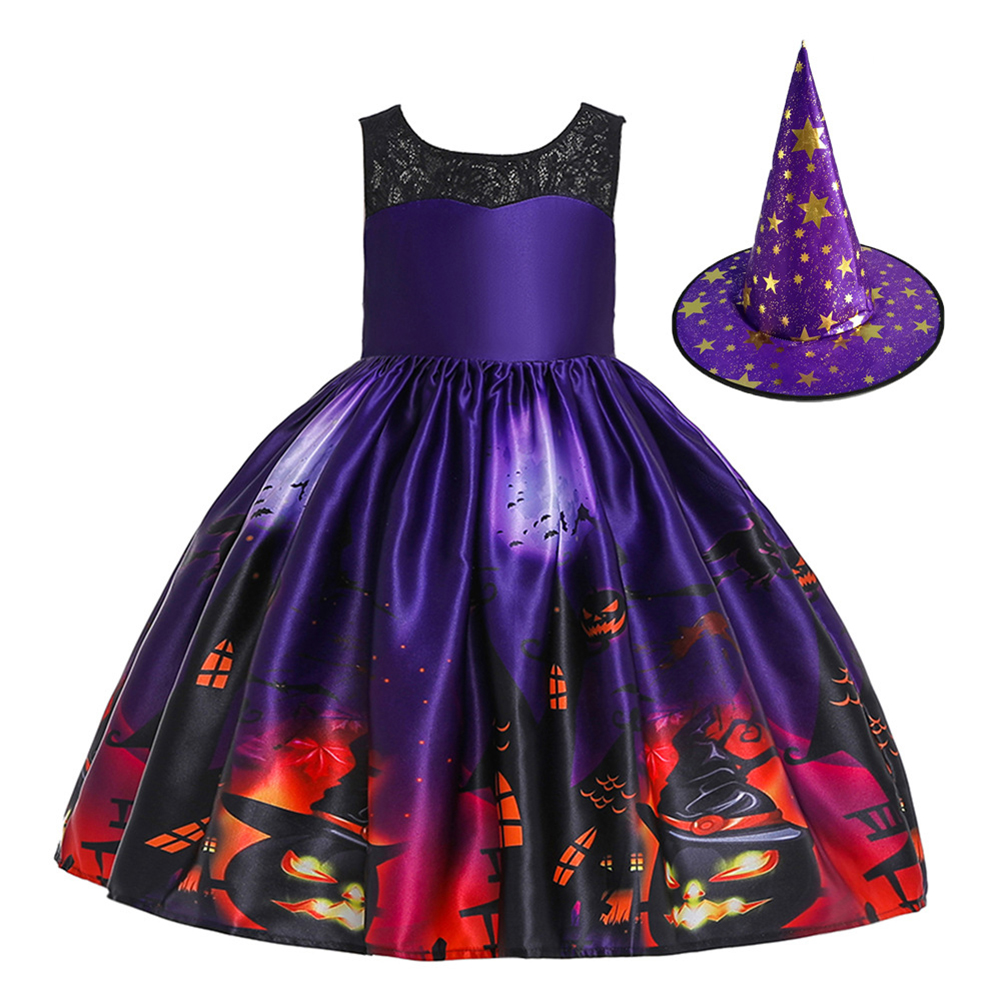 Children Dress Halloween Princess Lace Hole Dress Pumpkin Ghost Print Children's Dress with Hat WS007-Purple [with hat]_130cm