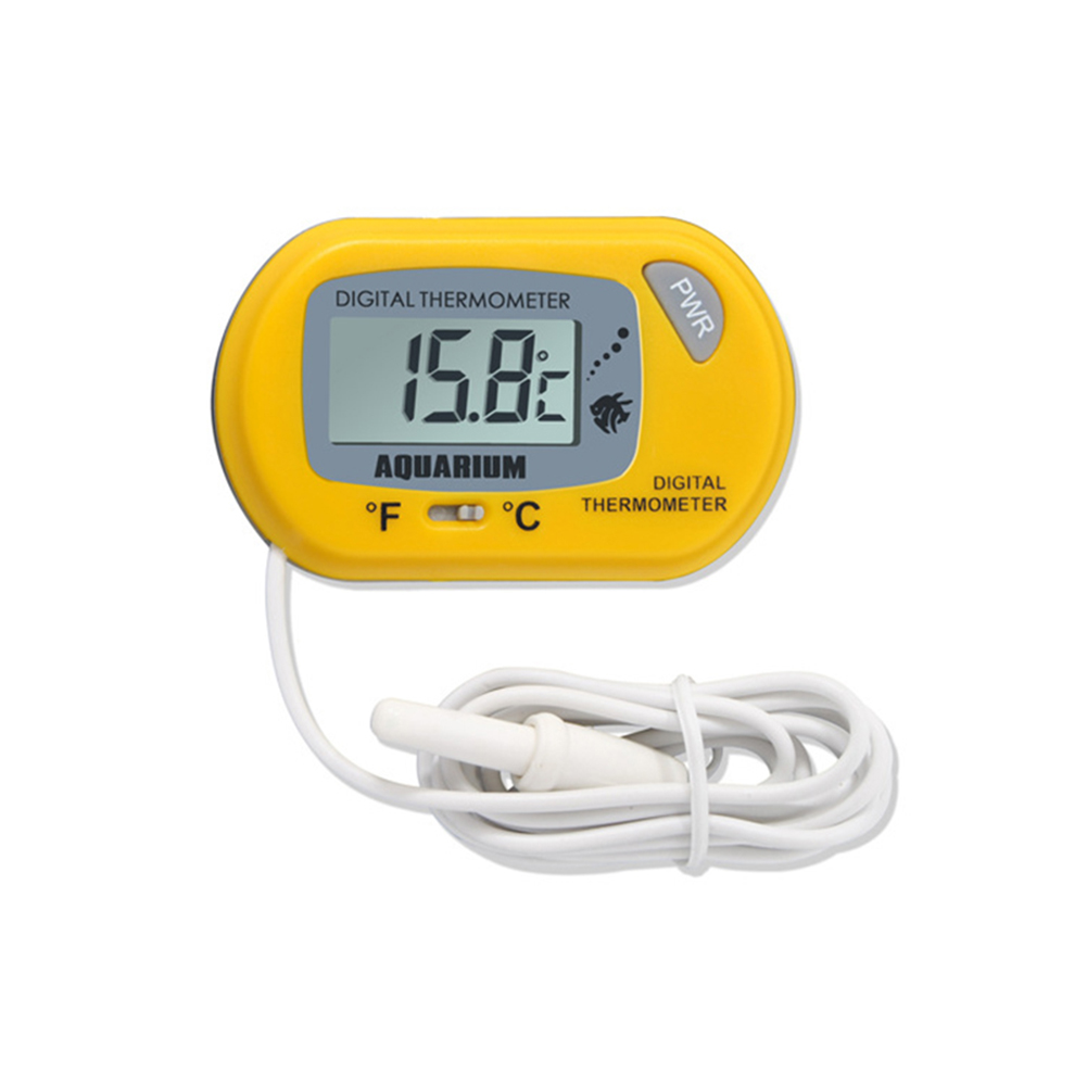 Practical Digital LCD Screen Water Thermometer with Sucking Disk for Aquarium Fish Tank Reptile Cave yellow