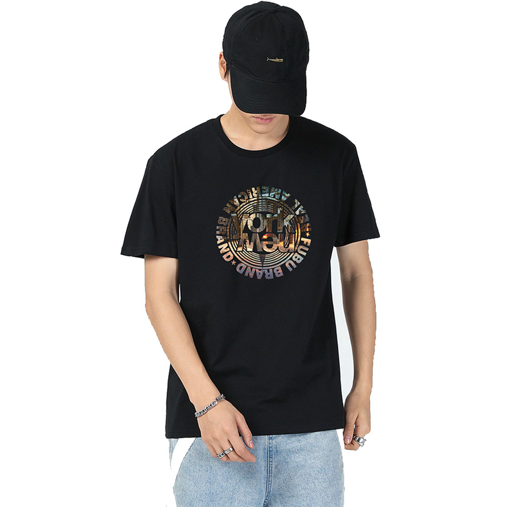 Men's and Women's T-shirt Short-sleeve Summer Retro Style Loose Letter Printing Casual Top Black _L