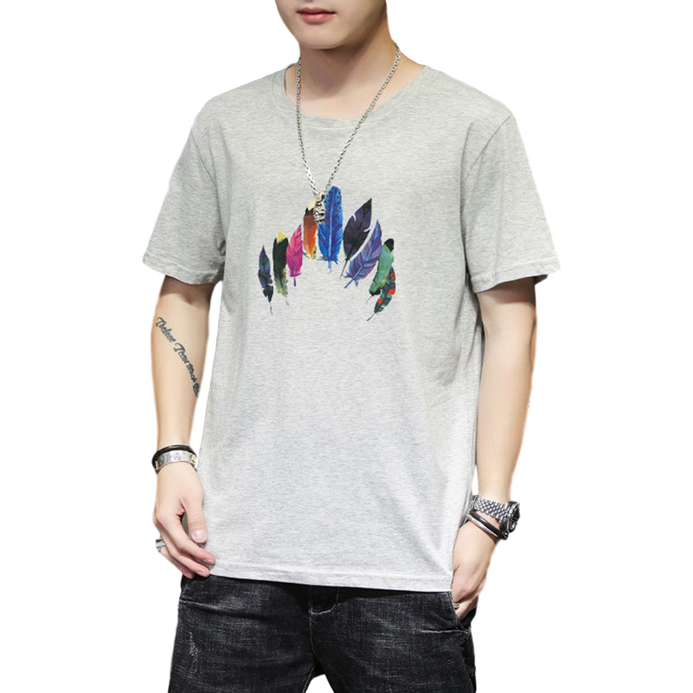 Men Women T Shirt Short Sleeve Summer Loose Feather Printing Couple Tops Gray_XL