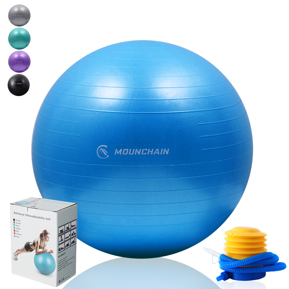 Mounchain Exercise Ball Anti-Burst Fitness & Stability Ball Extra Thick Yoga Ball Chair with Hand Pump