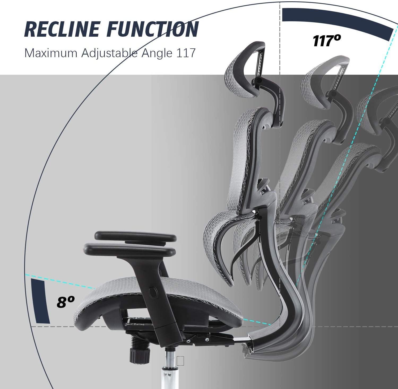 [US Direct] Original Smugdesk Office Chair, Ergonomics Mesh Chair Computer Chair Desk Chair High Back Chair w/Adjustable Headrest and Armrests - Grey