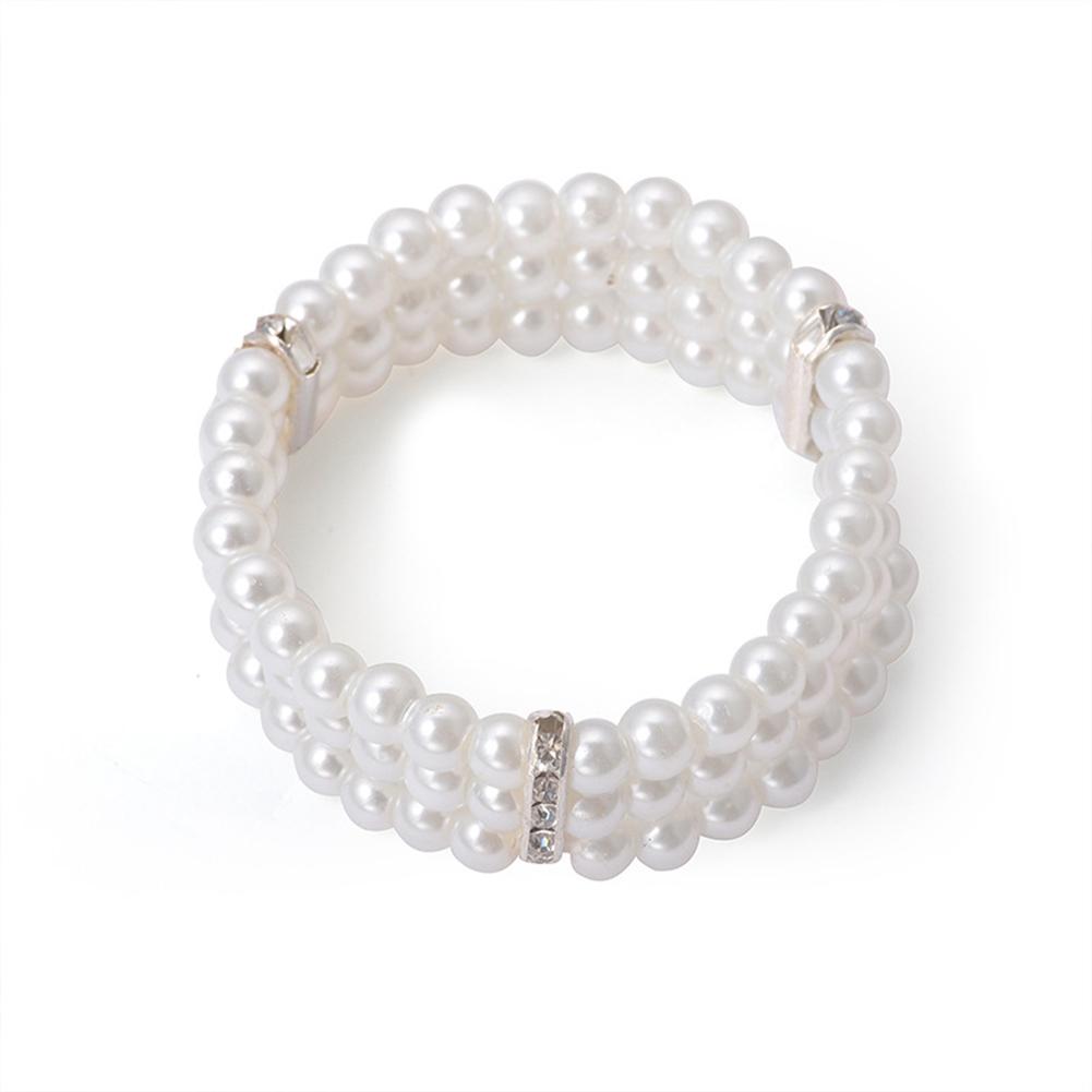 Women's Bracelet  Multi-layer Rhinestone Faux Pearl Bracelet creamy-white