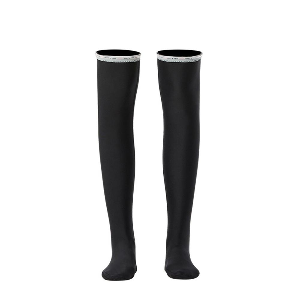 1.5MM Siamese Wet-type Warm Long Sleeve Jellyfish Swimming Surfing Stocking Suit Black stockings_XL