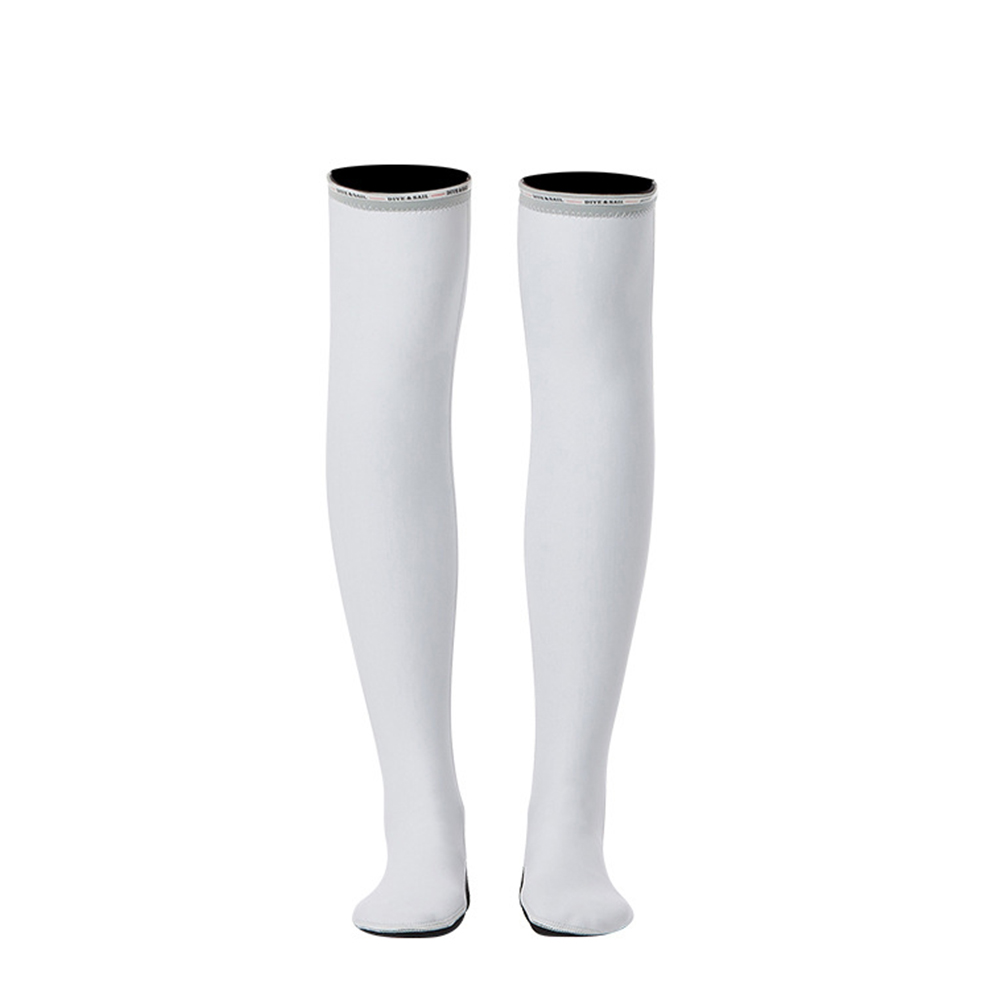 1.5MM Siamese Wet-type Warm Long Sleeve Jellyfish Swimming Surfing Stocking Suit White stockings_S