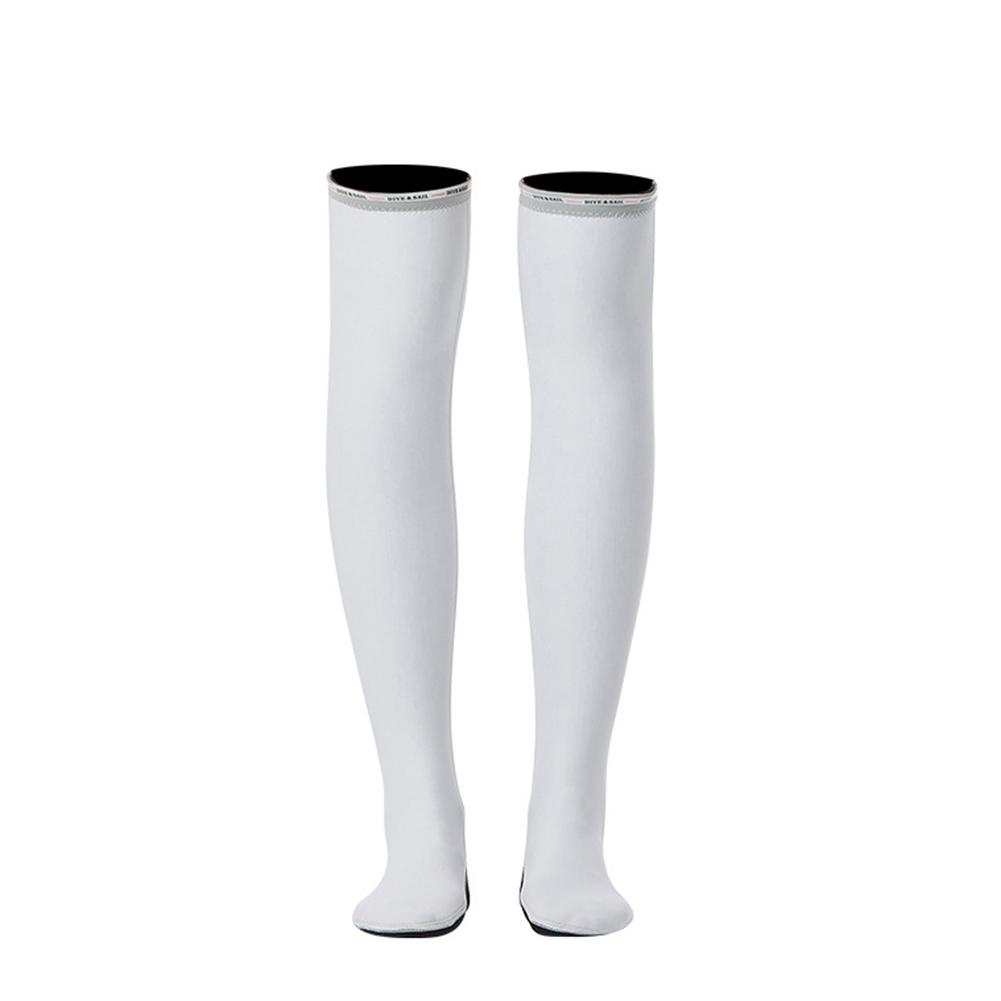 1.5MM Siamese Wet-type Warm Long Sleeve Jellyfish Swimming Surfing Stocking Suit White stockings_M