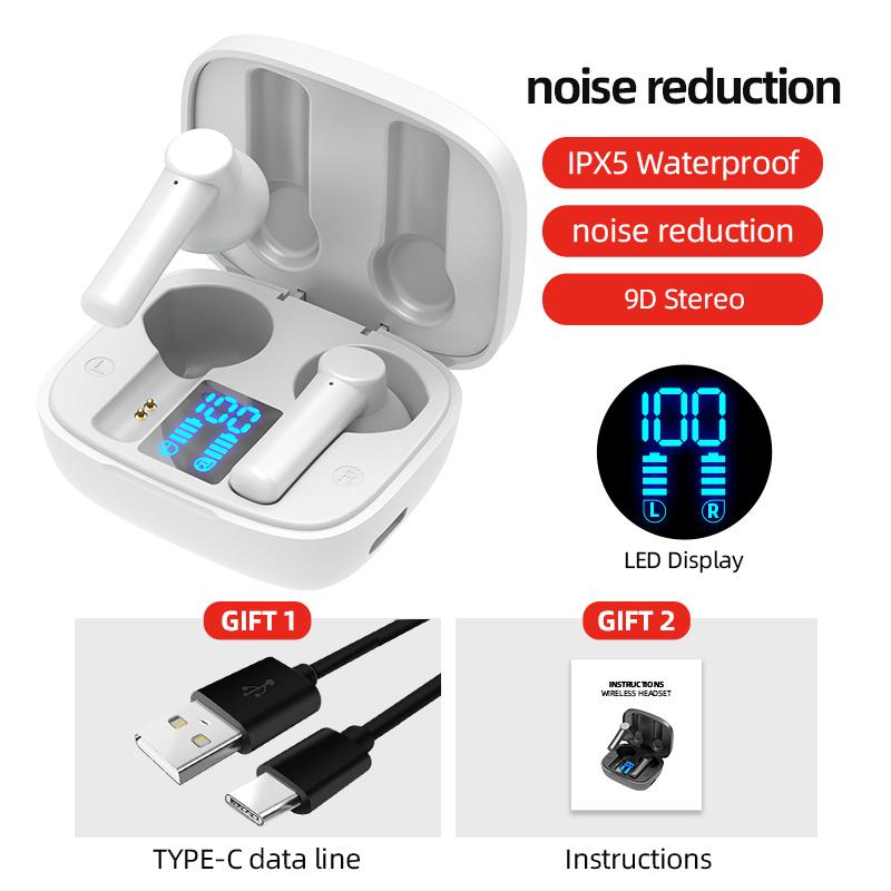 Lb-8 Bluetooth  Earphones True Wireless Headphones 5.0 Tws In-ear Earbuds Ipx5 Waterproof Earphones white