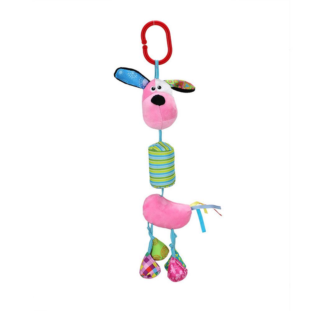 Infant Newborn Baby Plush Rattle Crib Stroller Hanging Pendant Cartoon Sensory Toy Gift Pink dog
