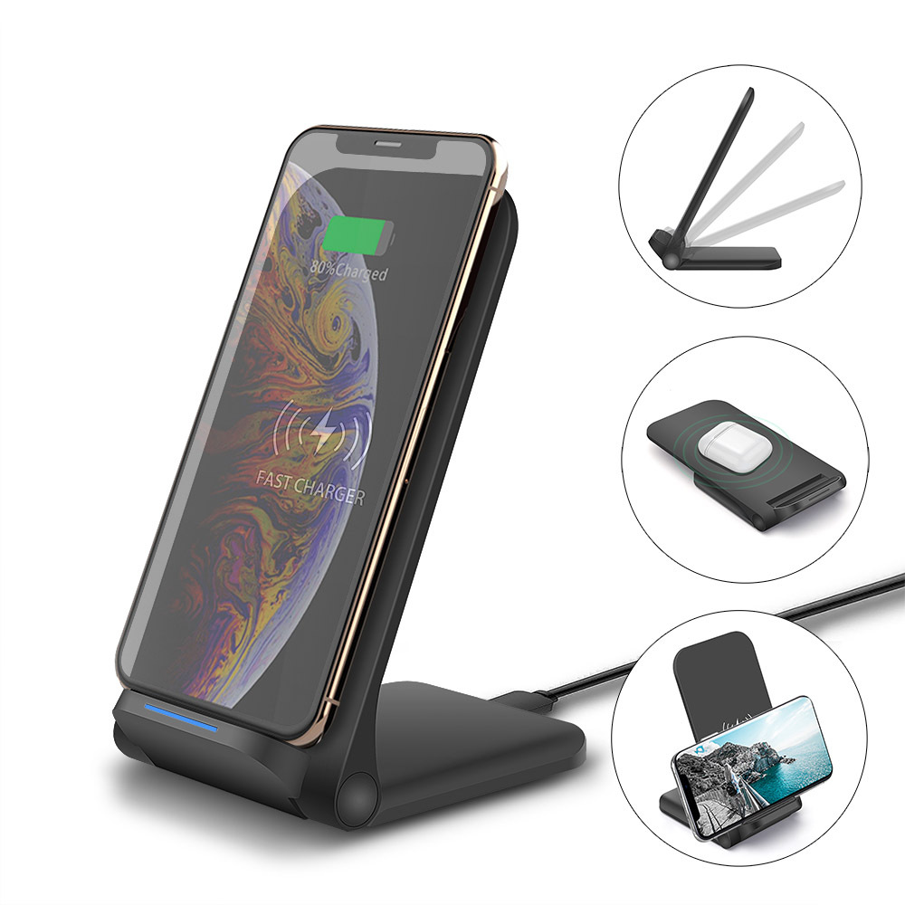 15W Wireless Folding Standing Charger Mount for Phone Holder black