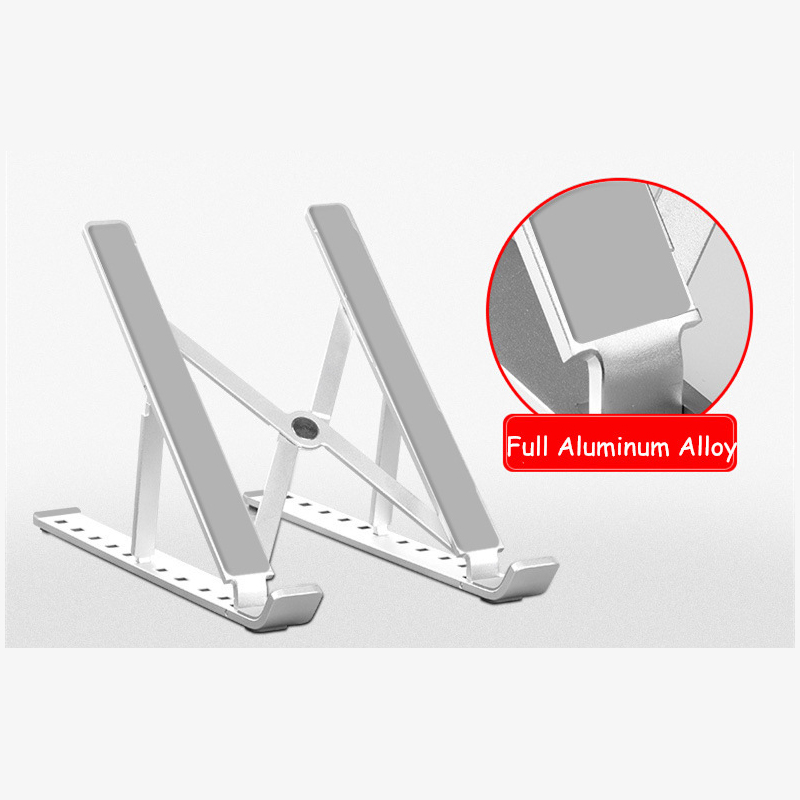 Portable Adjustable Folding Laptop Stand Aluminum Alloy Laptop Desk Computer Table Stand Silver