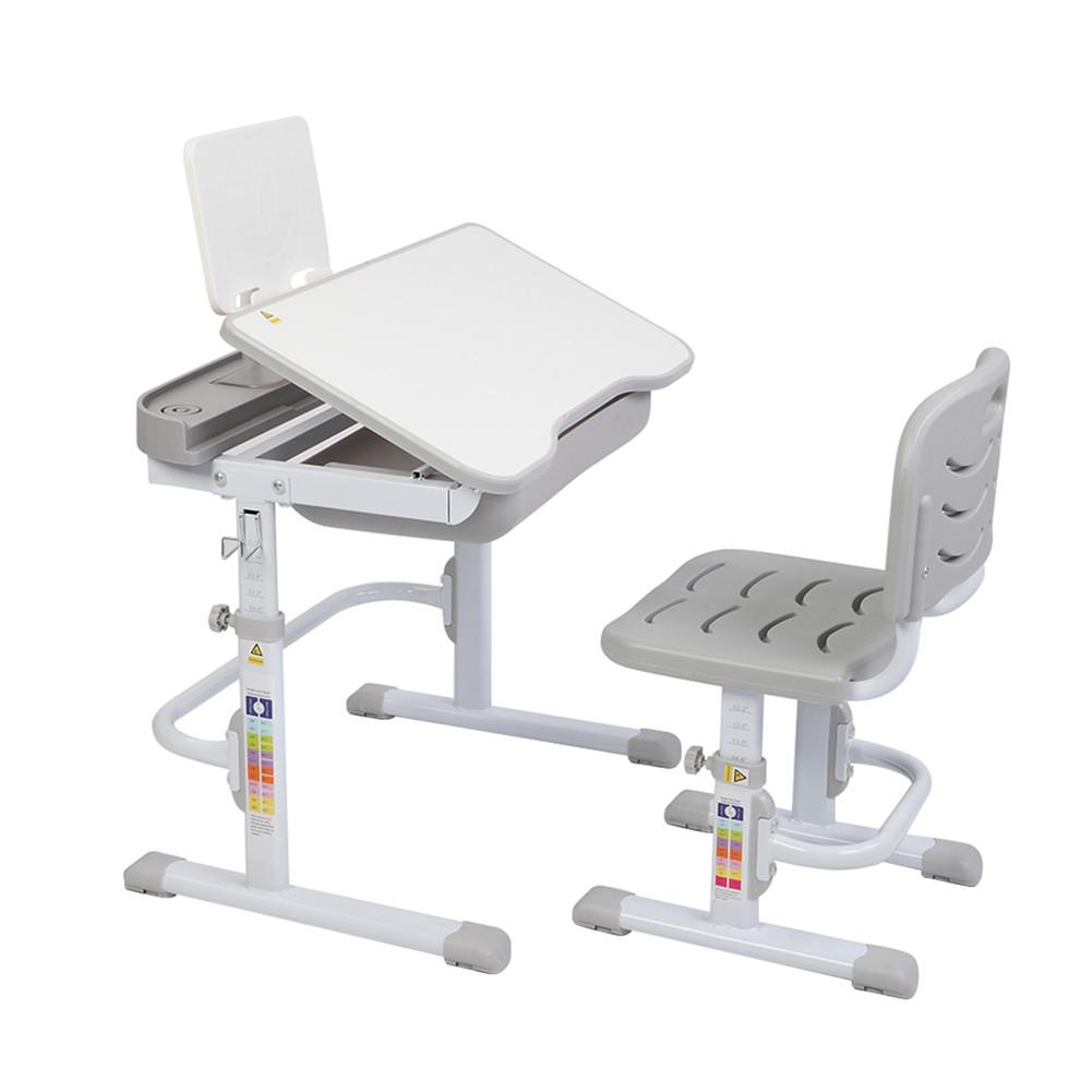 [US Direct] 70cm Kids Desk Chair Set Height Adjustable Children Study Desk With Tilt Desktop With Reading Frame Without Lamp gray