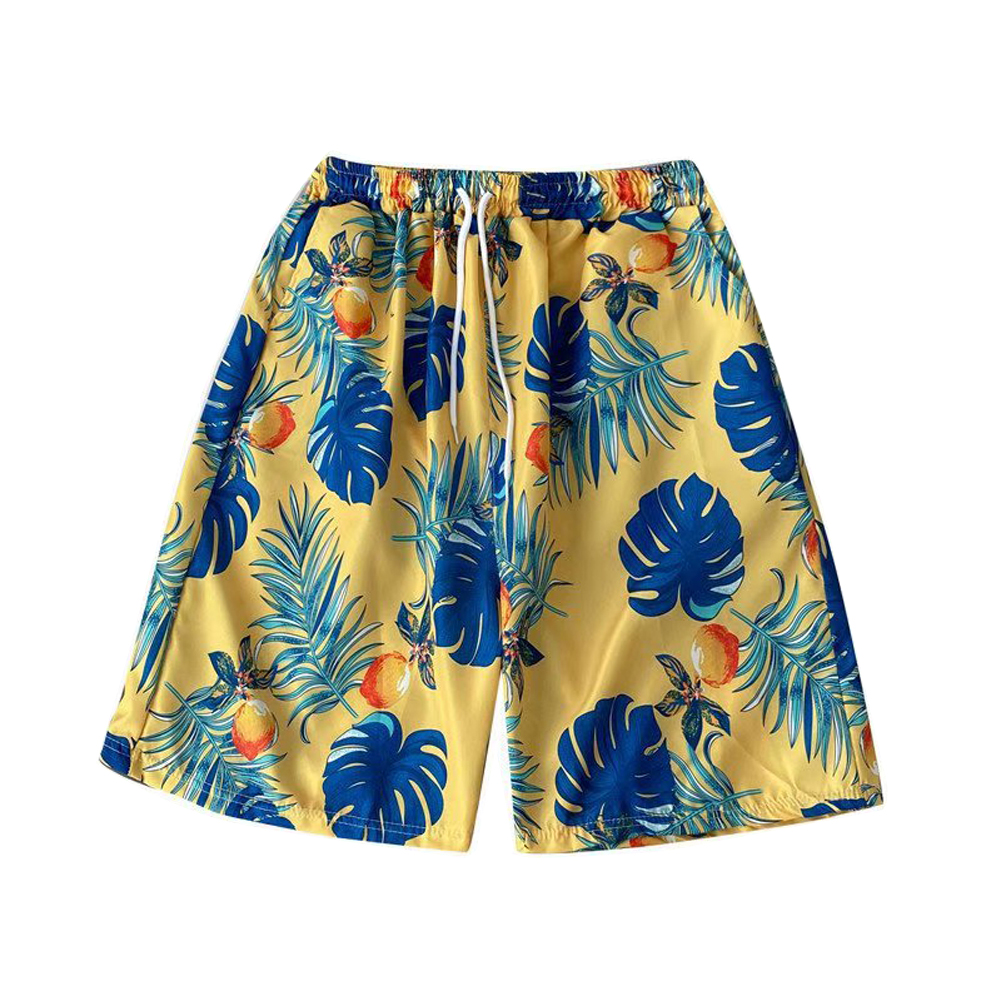 Beach  Pants Seaside Vacation Loose Couple Fifth-pants Boxer Swimming Trunks Flower Shorts Yellow_XL
