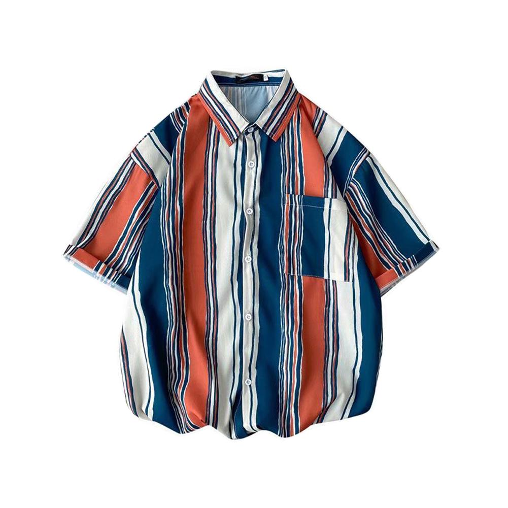 Men  Shirt Retro Hong Kong-style Vertical Striped Color Matching Loose Lapel Cardigan  Shirt Brown_XL