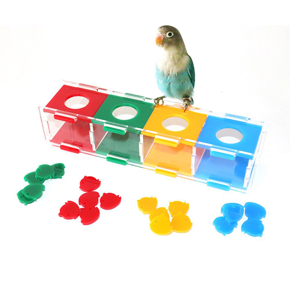 Parrot Color Separation Coin Box Interactive Playing Toy Intelligence Training Toy for Birds 27*6*7cm