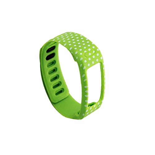 Guzila 1PCS Small Green Color with White Dots Spots Replacement WristBand for Garmin Vivofit(No tracker, Replacement Bands Only)