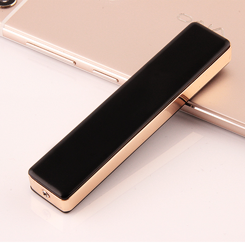Mini Windproof Smokeless Metal Electric Lighter USB Long Strip Electronic Cigarette Lighter Rechargeable Cigarette Lighter