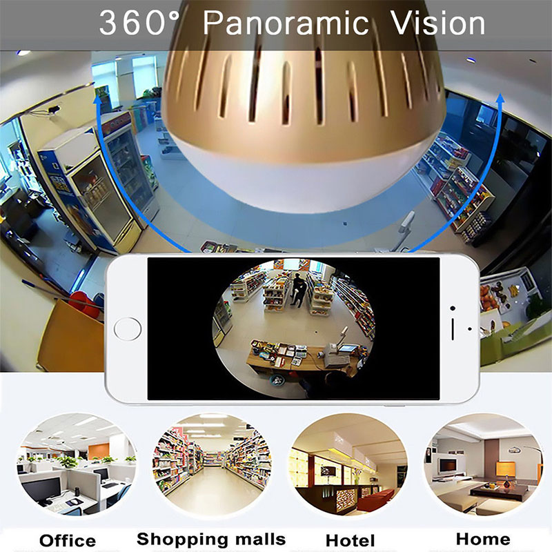 Panoramic Wifi IP Camera Light Bulb - Gold