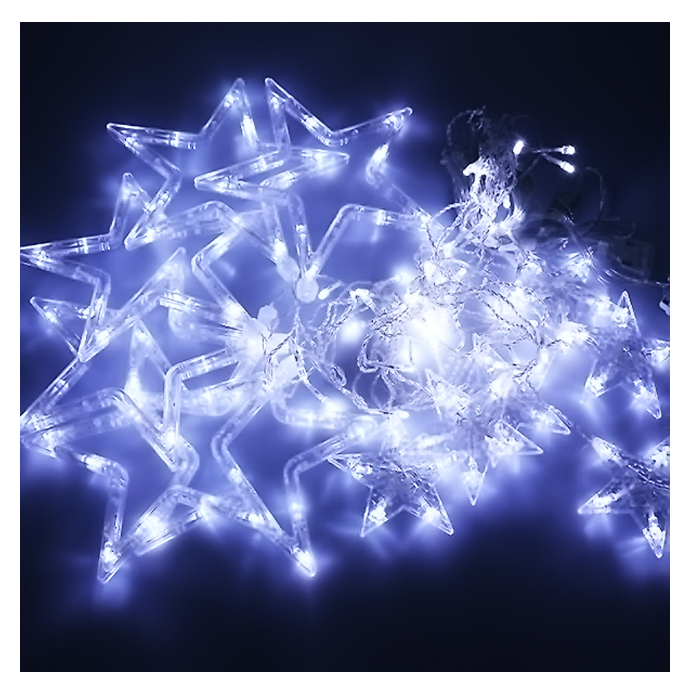 Curtain Light Fairy Star 2m 138 leds Linkable Window Curtain String Light for Wedding Christmas Party Home Kitchen Curtains Window Decor Yellow