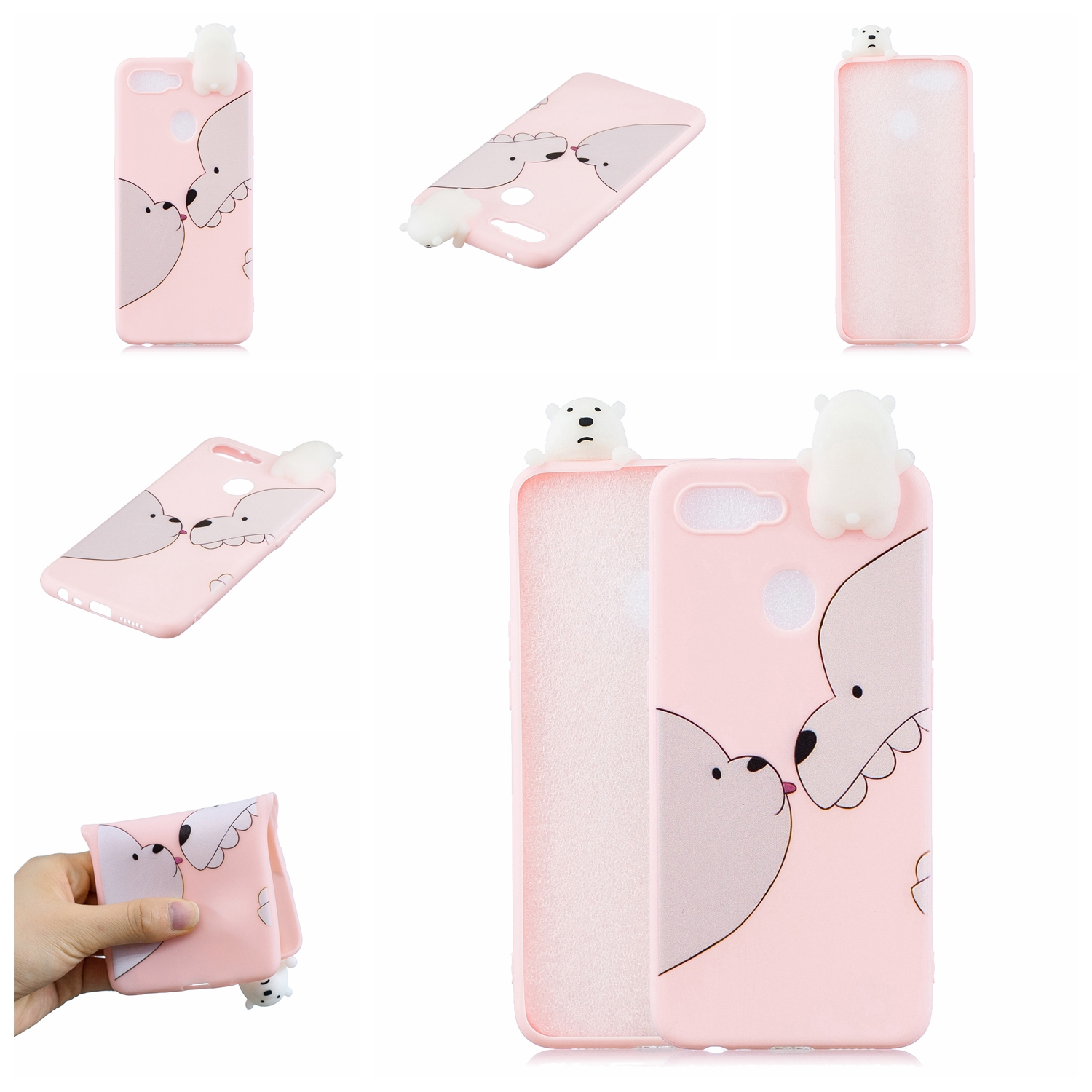 For OPPO F9/F9 PRO 3D Cute Coloured Painted Animal TPU Anti-scratch Non-slip Protective Cover Back Case Big white bear