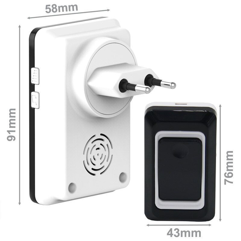 Home Wireless Long Distance DoorBell Waterproof Security Door Bell Transmitter Receiver EU