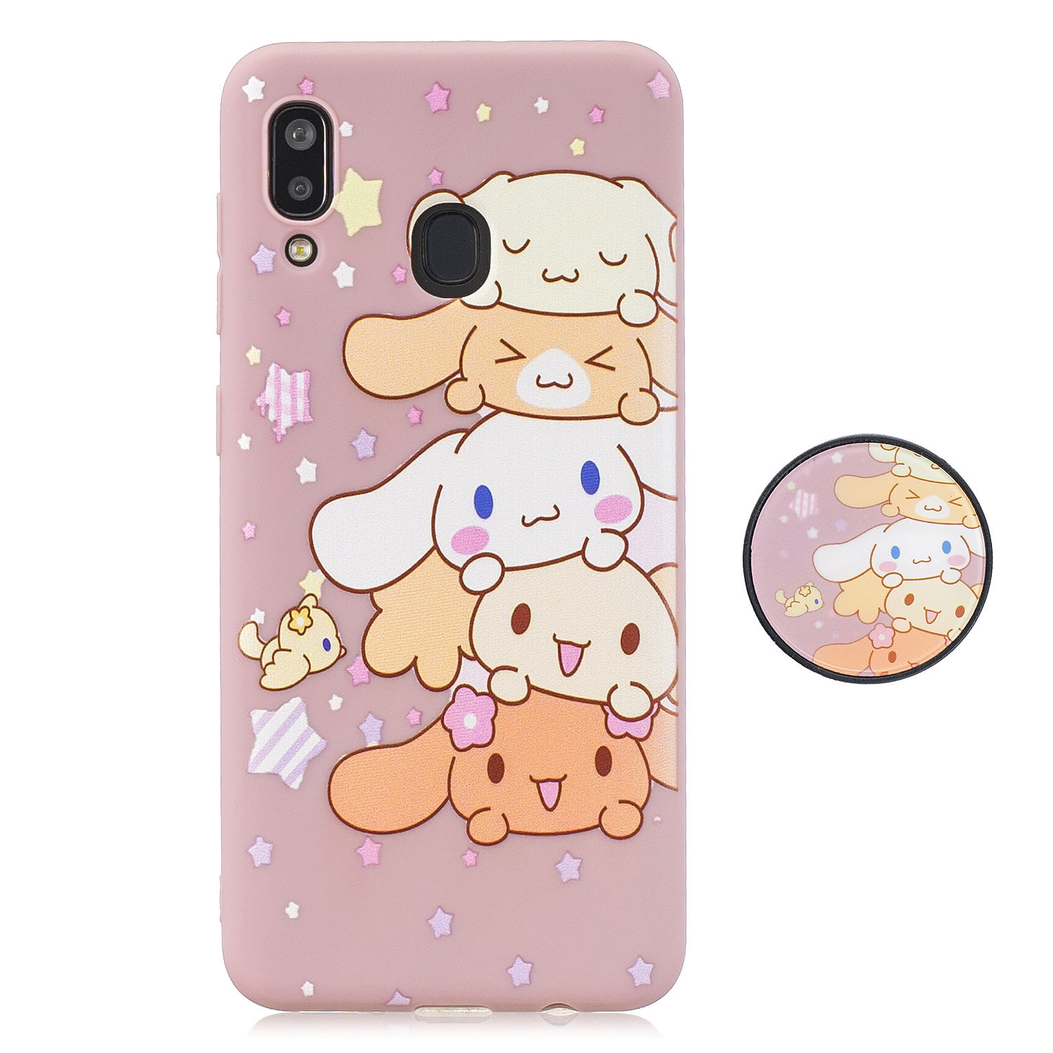 For Samsung A30 A20 TPU Full Cover Cartoon Pattern Solid Color Protective Phone Case with Adjustable Bracket 1