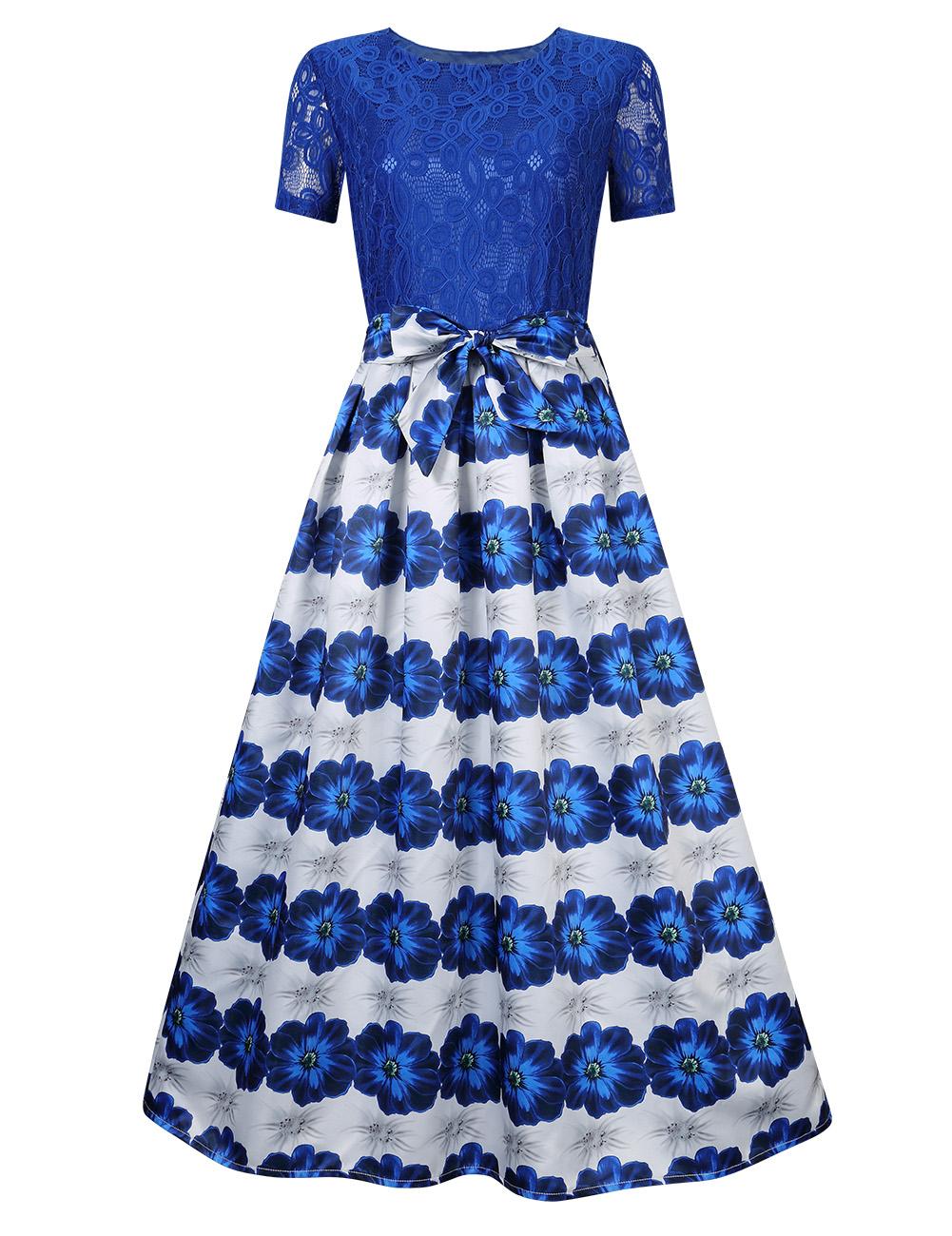 [US Direct] Glorysunshine Women Modest Lace Bowknot A-line Pleated Maxi Dress